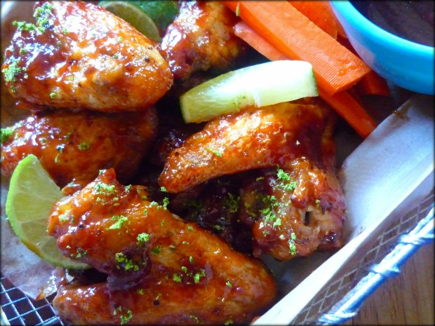 Deliciously baked not fried tangy Baked BBQ'd Chipotle Lime Wings are as simple as 1-2-3, budget friendly and perfect for your next Sunday game day. Baked BBQ'd Chipotle Lime Wings are perfectly seasoned with a slightly spicy honey chipotle BBQ sauce and a hint of fresh lime juice to balance the flavors.