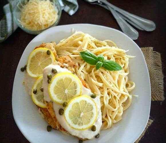 Creamy Lemon Chicken Cutlets with Fettuccine
