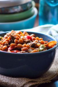 Southern Baked Bean and Ground Beef Casserole is another iconic Southern covered dish our family loves to share at family functions, Church Potlucks, picnics and even on some of the spring and summer Holiday gatherings.