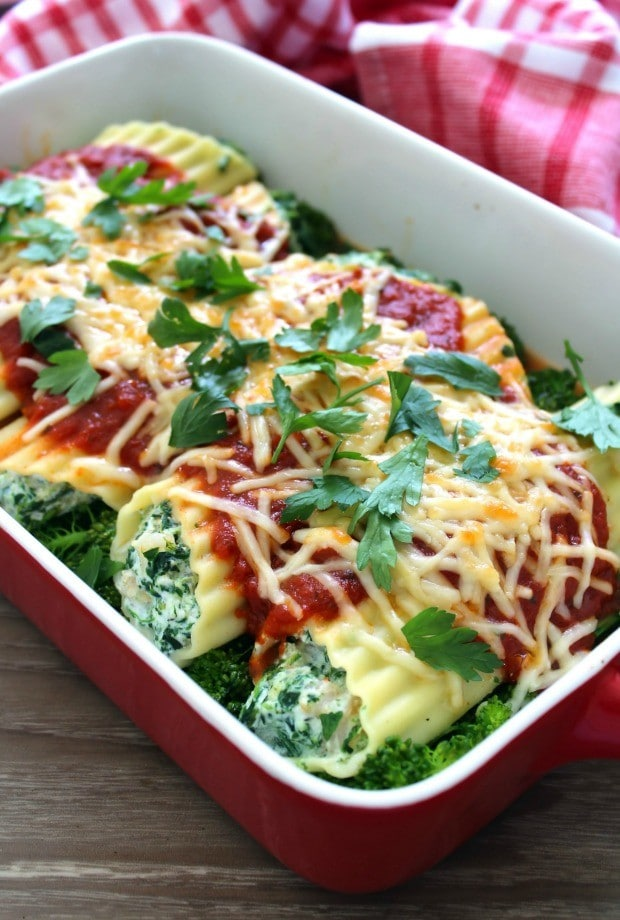 Traditional Seafood Manicotti with Shrimp is one of my favorite traditional Christmas Eve dishes, and how can it not be? Pasta that's decadently filled to the brim with succulent shrimp, creamy ricotta cheese, Organic Parmesan cheese shreds, organic chopped spinach, and fresh chopped herbs, resting on a bed of broccolini, all covered in a deliciously simple red sauce and smothered in more Organic Parmesan cheese shreds- do I have your attention yet Y'all?