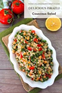 Israeli Couscous Salad is one of those salads you can pretty much enjoy year around, combining simple ingredients such as Israeli Couscous, chickpeas, tomatoes, minced garlic, fresh parsley, roasted red peppers, red onion, kosher salt, ground black pepper, and lemony homemade dressing.
