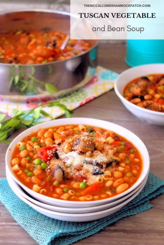 Tuscan Vegetable and Bean Soupisa favorite of the cold weather season. Hot, comforting, and packed with amazing flavor to makeyousmile on a chilly day. Who doesn't love a hearty bowl of deliciouswarm soup this time of the year? Packed with hot Italian sausage,hot capicola,cannellini beans, celery, carrots, peas, diced tomatoes, and even tiny pasta, in a warm flavorful vegetablebroth to fill your belly on a chilly day.