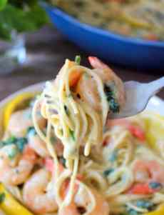 This amazingly flavorful Lemon Ricotta Pasta with Shrimp recipe is perfect for any dinner occasion, so you and your family can enjoy a light, delicious fresh pasta dish with creamy ricotta, succulent shrimp, lemon juice, and fresh organic baby spinach.