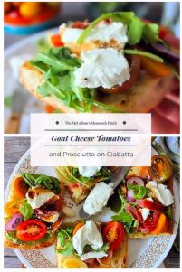 Treat your guests to a delicious flavorful lunchof Goat Cheese Tomatoes and Prosciutto on Ciabatta Bread in a snap! How can you go wrong with wonderful flavors likeGoat Cheese, Heirloom vine-ripened tomatoes, Prosciutto, pepperyArugula, fresh basil, garlic, and warm balsamic? Its a little slice of heaven if you ask me.