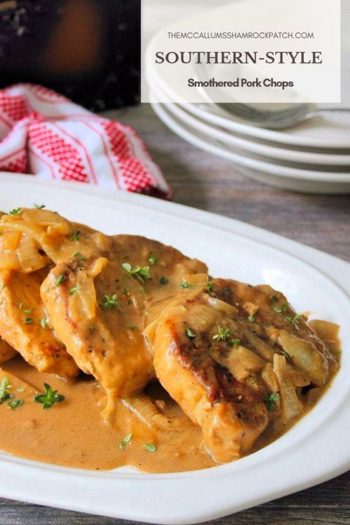 Southern Smothered Pork Chops are classic comfort food at it's best in the South. Slow cooked until tender, juicy, flavorful, melt in your mouth Pork Chops smothered in a wonderful onion gravy that takes ordinary Pork Chops to an entirelynew levelof perfectly deliciously mouthwatering meat and gravy meal.