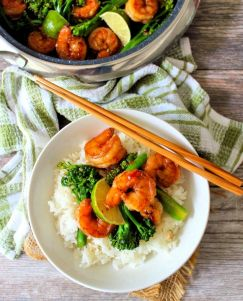 This flavorful Quick and Easy Asian Sweet Chili Shrimp is marinated in a tangy Thai sauce that tastes sweet yet slightly spicy; is perfect for a busy weeknight dinner when you have 30 minutes or less to get your meal from the stovetop to the table.