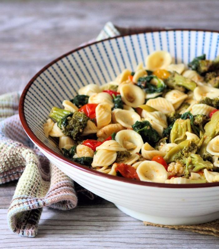 Roasted Vegetables with Orecchiette Pasta is the perfect flavorful recipe to please the entire family. Made with freshly roasted veggies to maximize the flavor and a simple sauce to enhance the pasta and tie everything in for the perfect healthy meal.