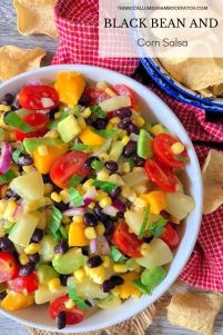 Make the perfect crowd pleaser in just a matter of a few minutes time with this deliciously flavorful fresh-tasting Black Bean and Corn Salsa with avocados, pineapple, and mango that your family and friends will enjoy on tortilla chips, tacos, salads, grilled chicken, fish, or even steak.
