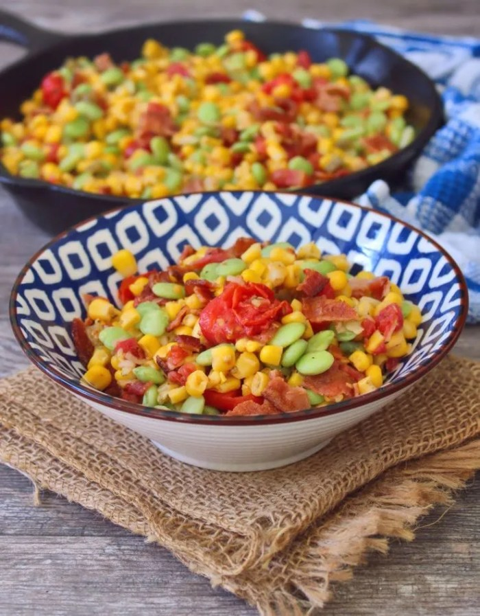 Southern-style Succotash is packed with delicious healthy organic veggies like sweet yellow corn, lima beans, onions, tomatoes, and crisp smoked bacon this Classic Southern side makes the perfect potluck dish.