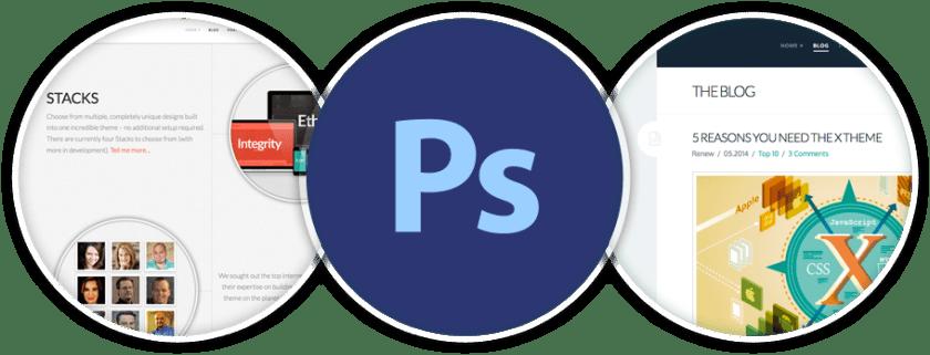 screenshot of photoshop files in X WordPress theme