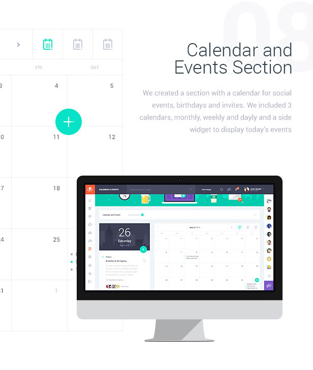 Calender and Events Section