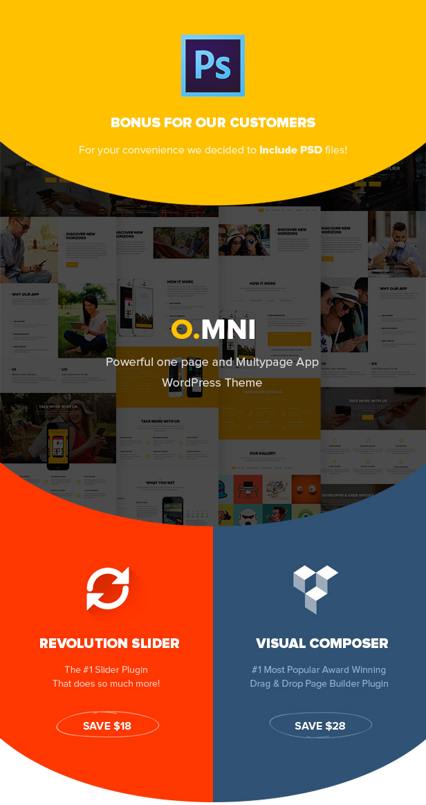 Powerful One and Multipage App  WordPress Theme, Revolution Slider, Visual Composer