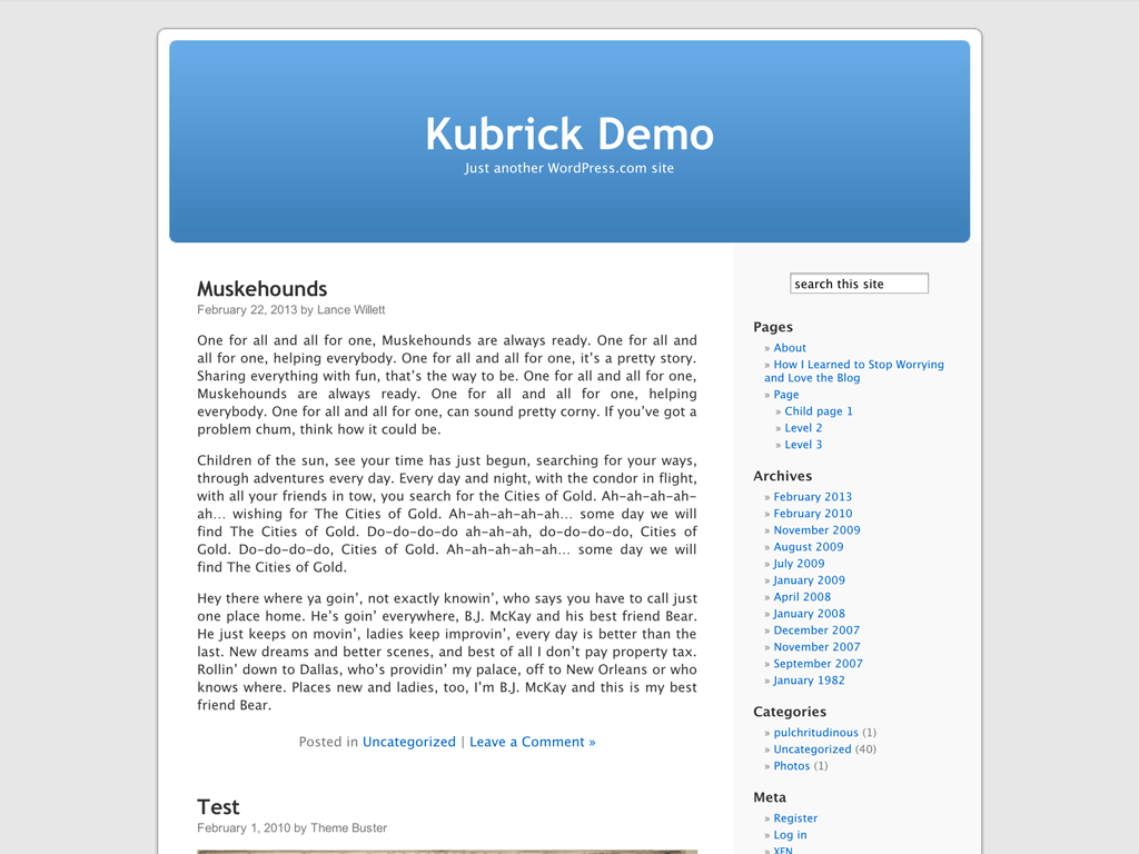 Screenshot of the Kubrick theme
