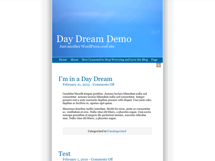 Screenshot of the Day Dream theme