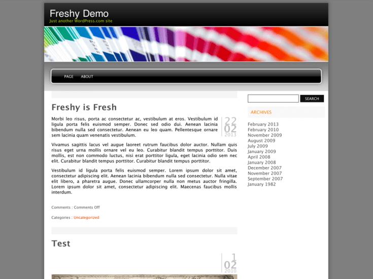 Screenshot of the Freshy theme