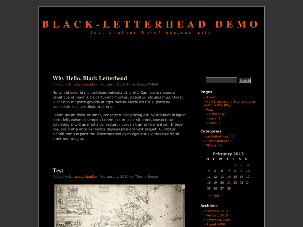 Screenshot of the Black-LetterHead theme