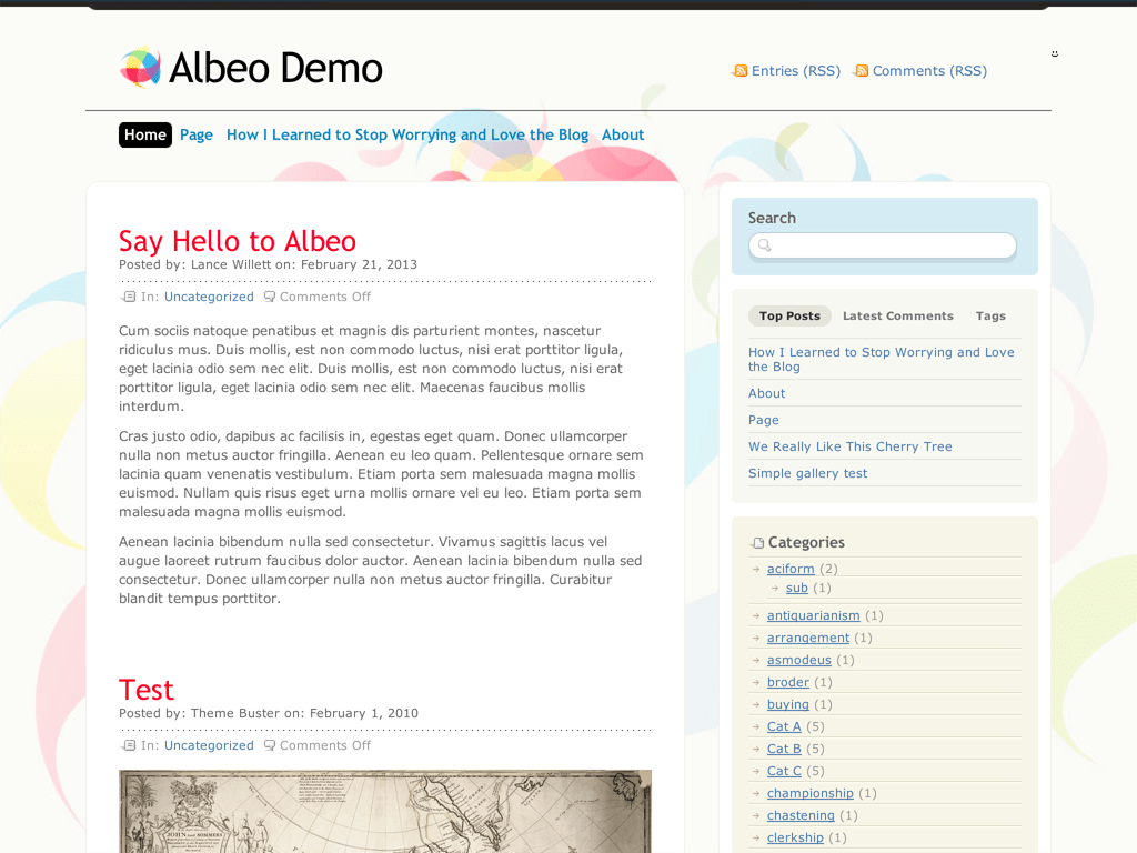 Screenshot of the Albeo theme