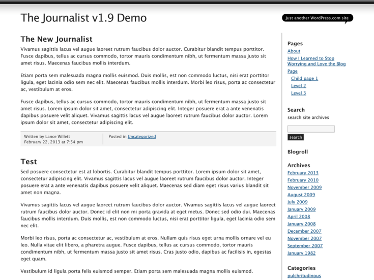 Screenshot of the The Journalist v1.9 theme