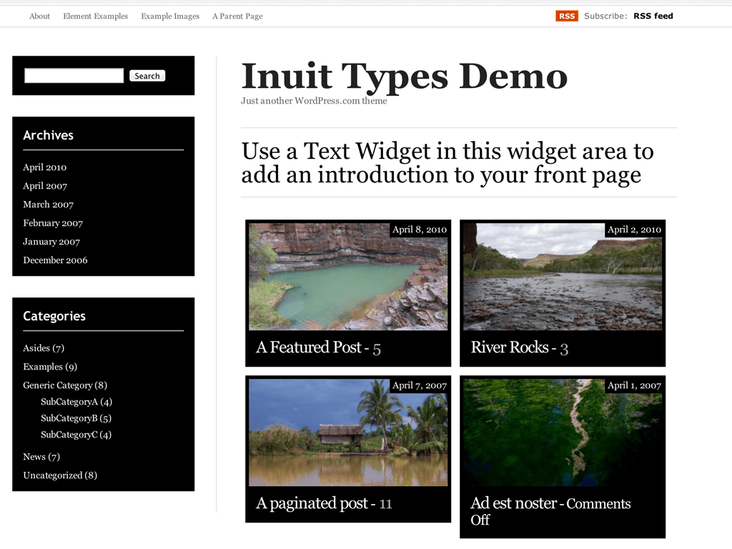 Screenshot of the Inuit Types theme