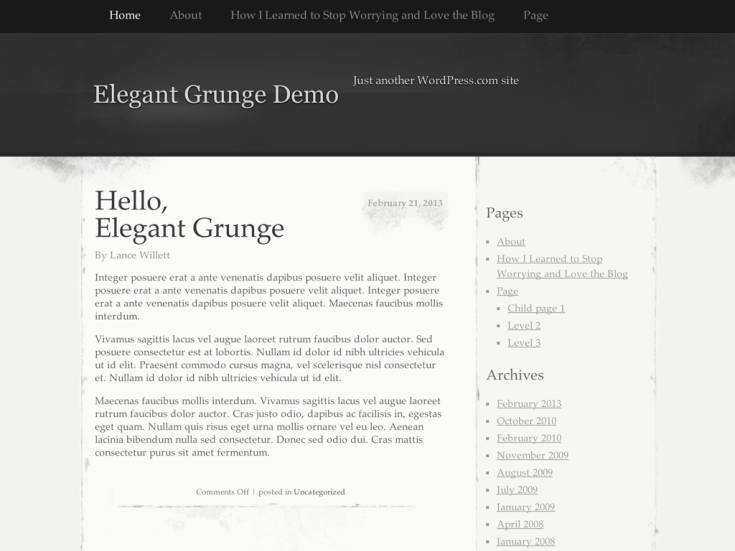Screenshot of the Elegant Grunge theme
