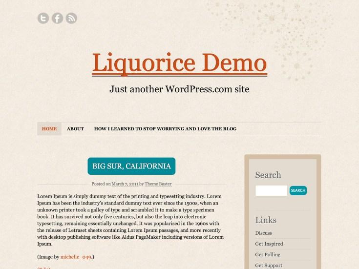 Screenshot of the Liquorice theme