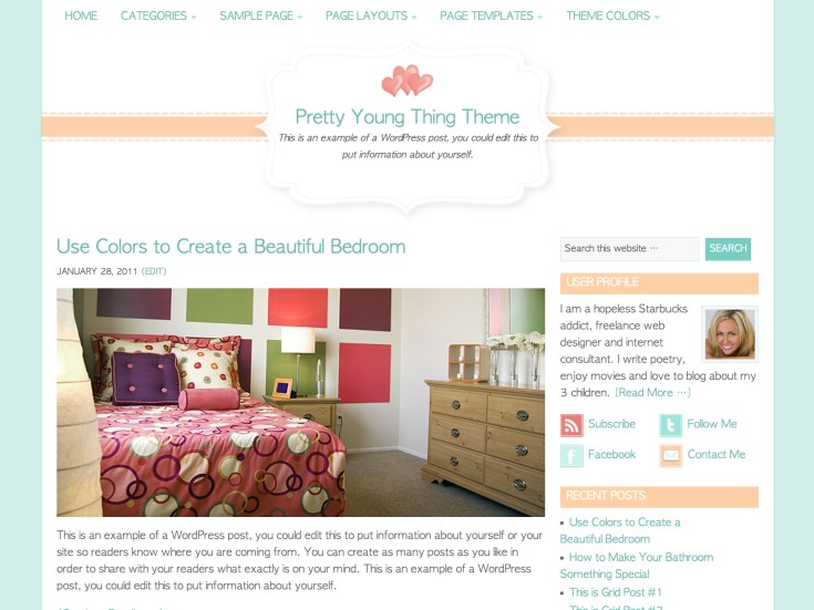 Screenshot of the Pretty Young Thing theme