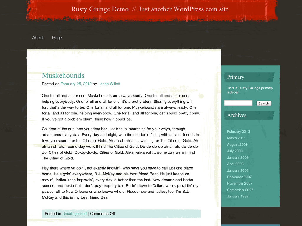 Screenshot of the Rusty Grunge theme
