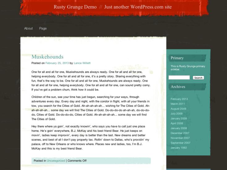 Screenshot of the Rusty Grunge theme