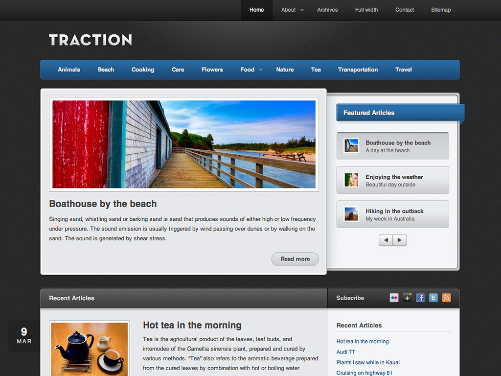 Screenshot of the Traction theme