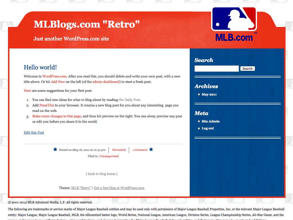 "Screenshot of the MLB ""Retro"" theme"