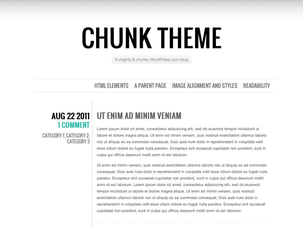 Screenshot of the Chunk theme