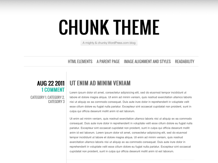 Screenshot of the Chunk theme