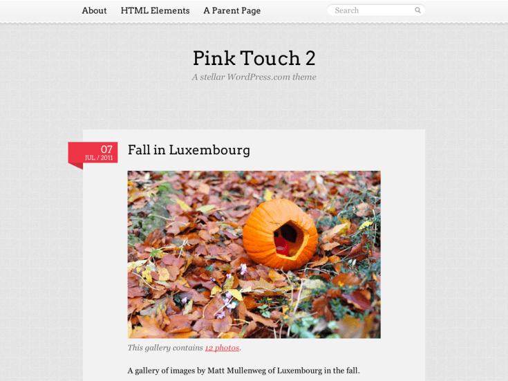 Screenshot of the Pink Touch 2 theme