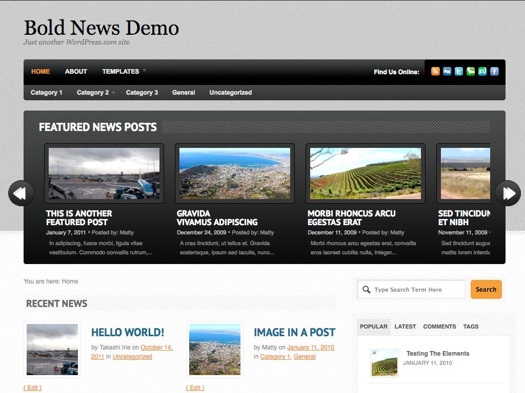 Screenshot of the Bold News theme