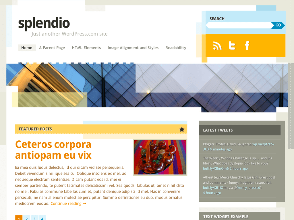 Screenshot of the Splendio theme