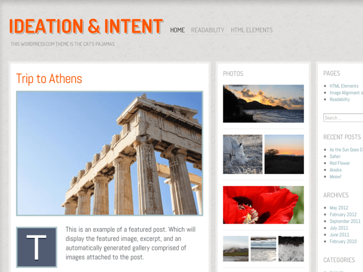 Screenshot of the Ideation and Intent theme