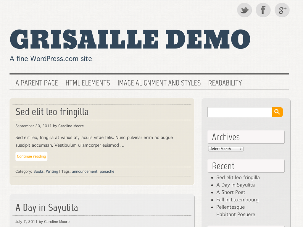 Screenshot of the Grisaille theme