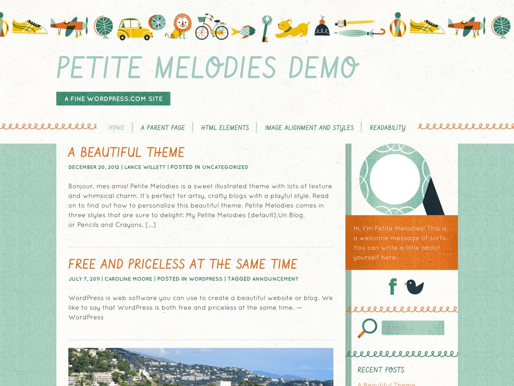 Screenshot of the Petite Melodies theme