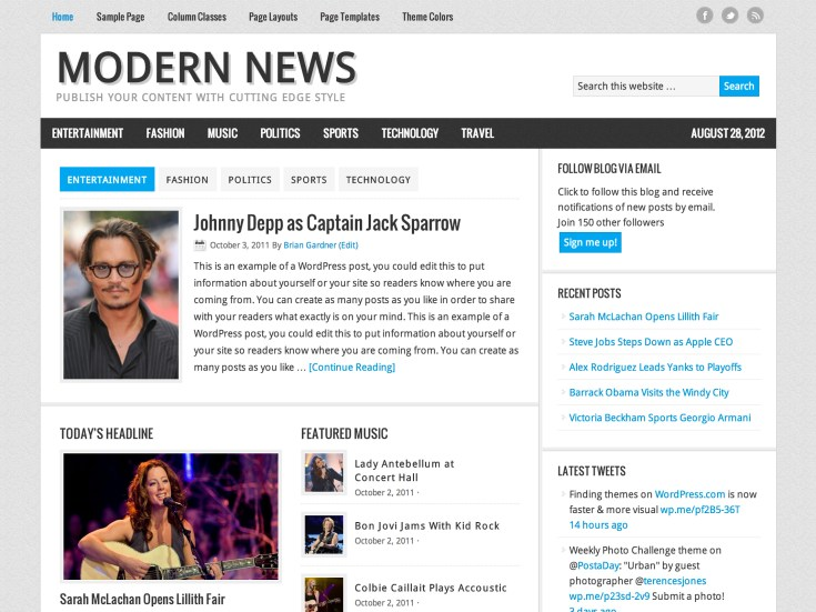 Screenshot of the Modern News theme