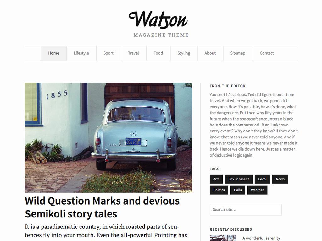 Screenshot of the Watson theme