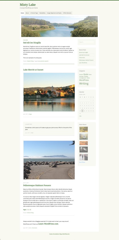 Misty Lake WordPress Theme