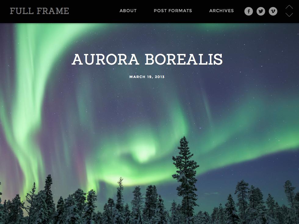 Screenshot of the Full Frame theme