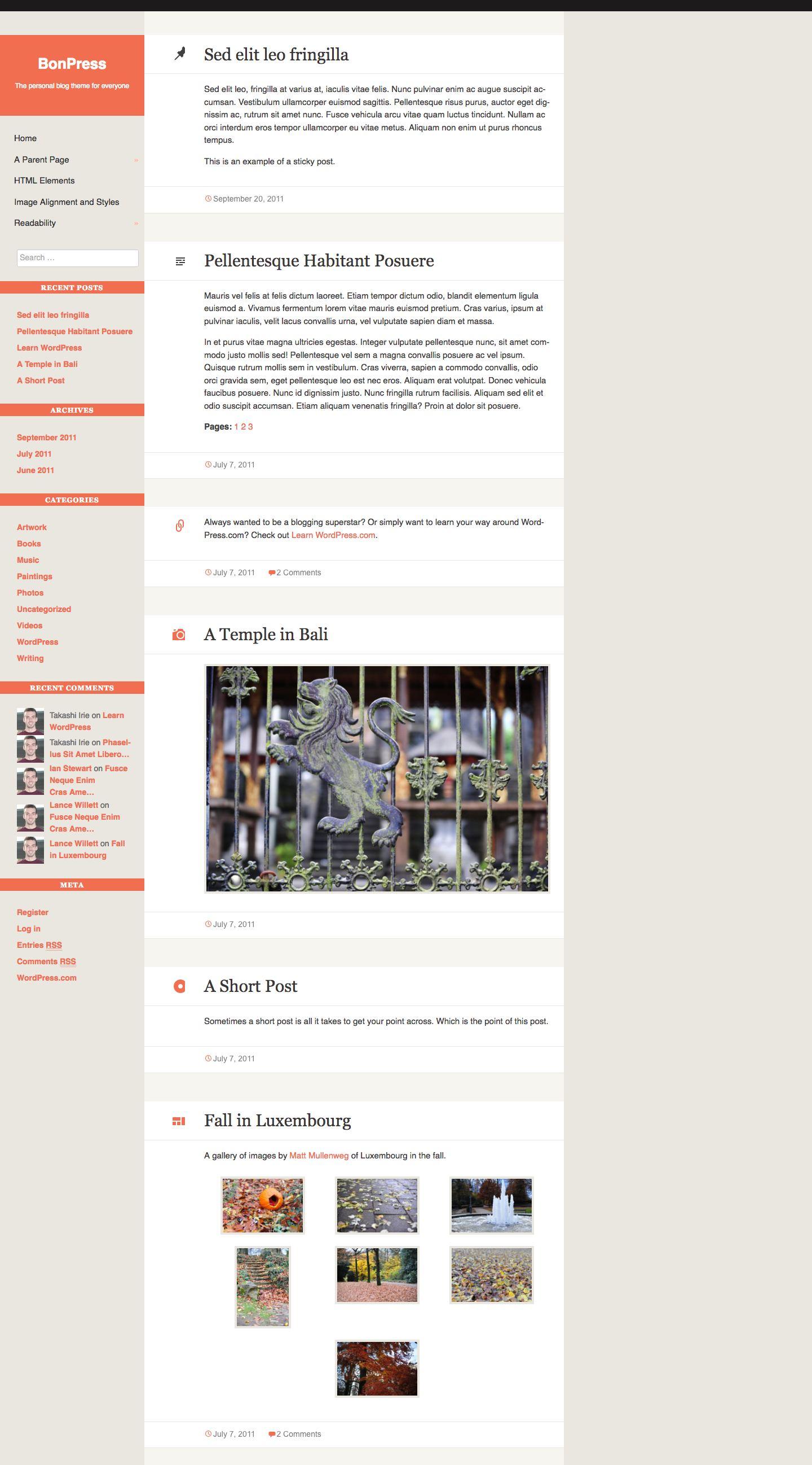 Screenshot of the BonPress theme