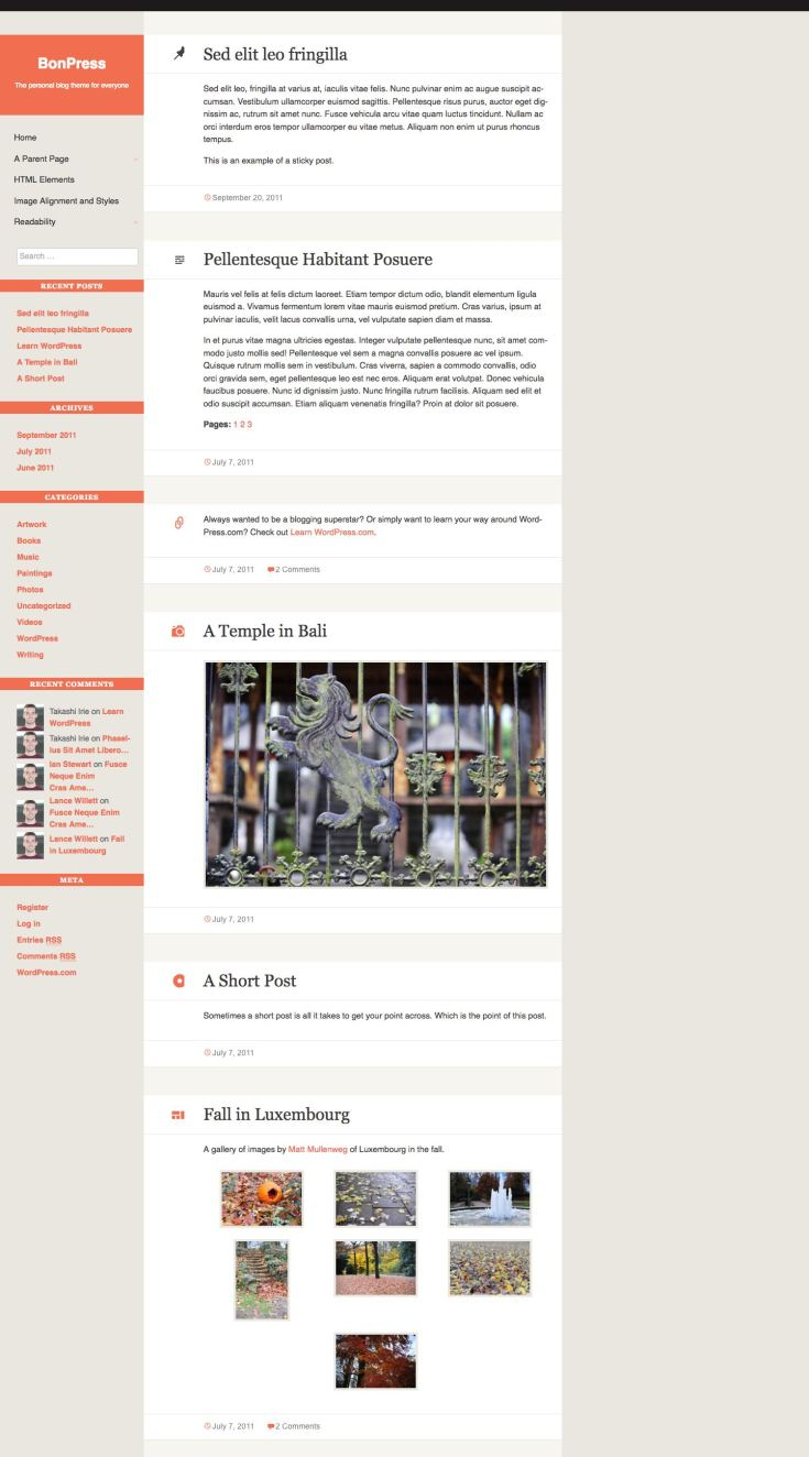 Screenshot of the BonPress theme