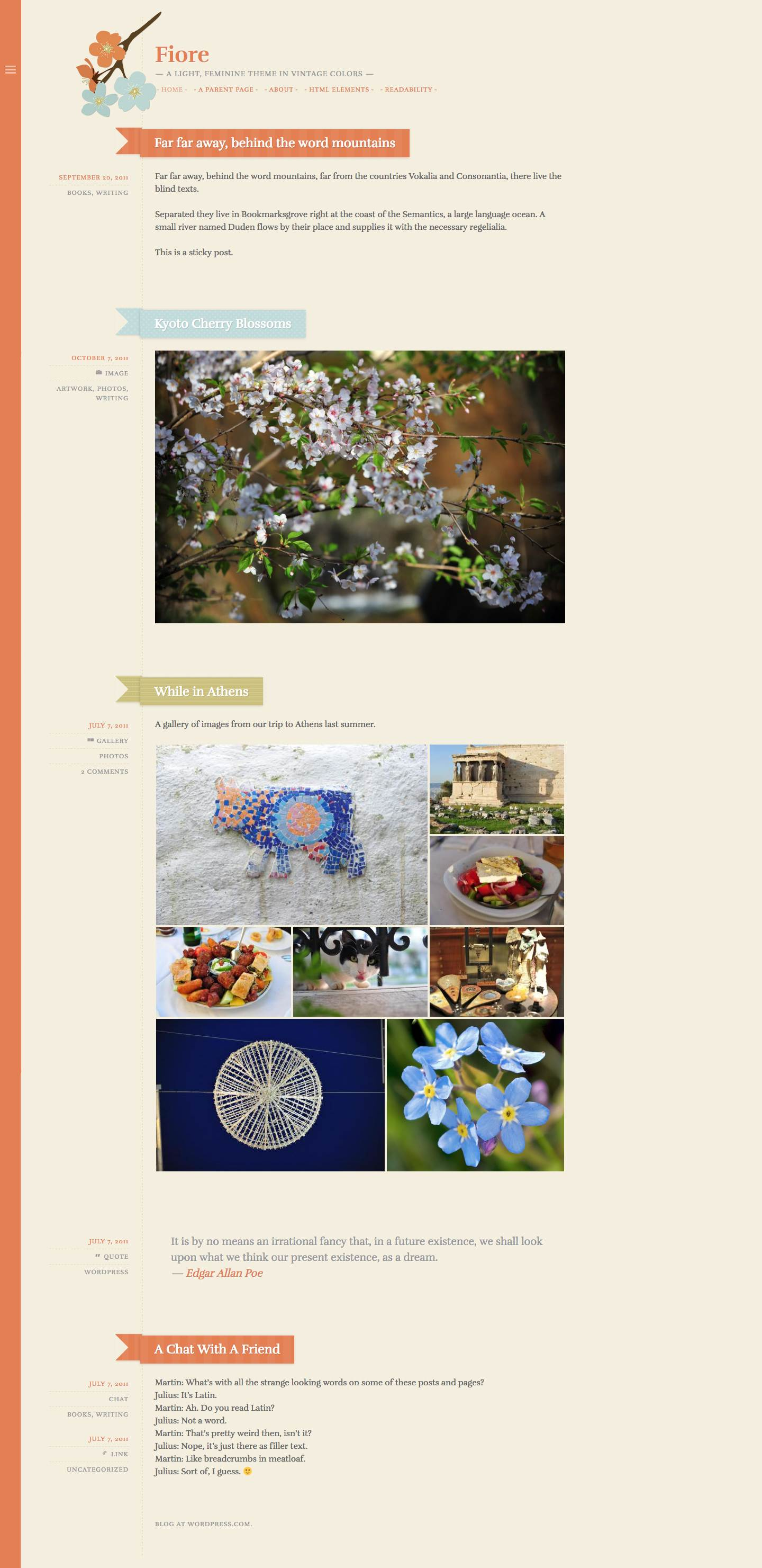 Screenshot of the Fiore theme