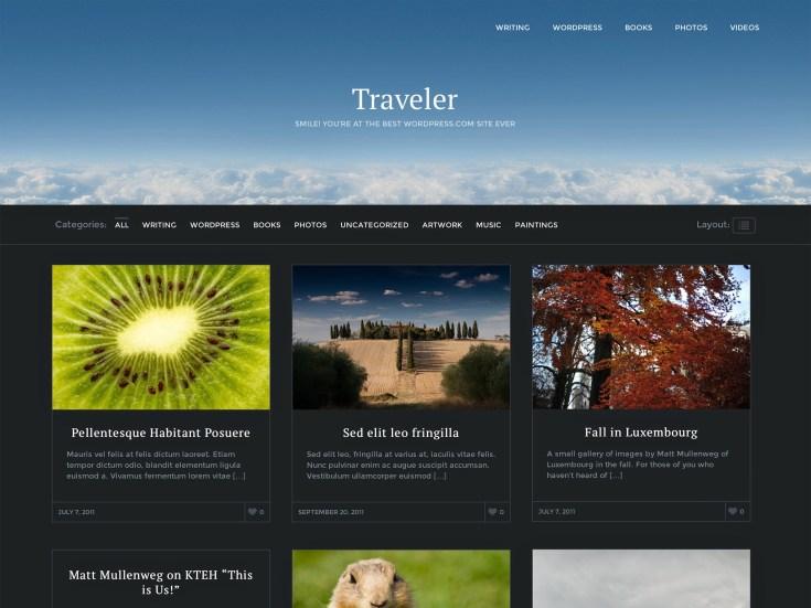 Screenshot of the Traveler theme