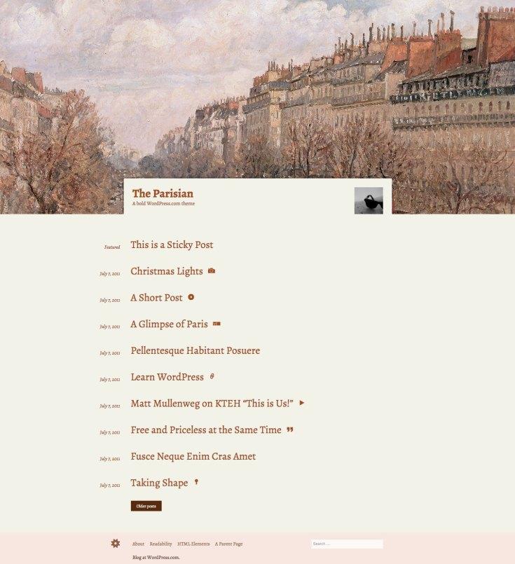 Screenshot of the The Parisian theme
