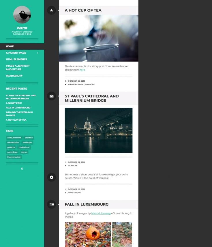 Screenshot of the Writr theme