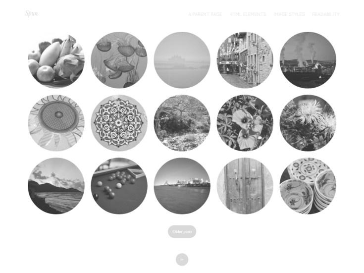 Screenshot of the Spun theme