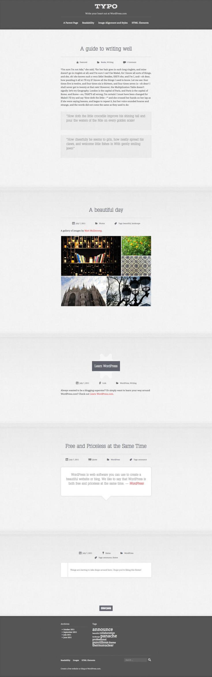 Screenshot of the Typo theme
